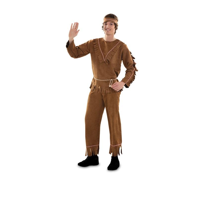Disfraz barato de Indio para hombre talla S = 48/52. También es ideal para chicos de 16 a 18 años. Incluye cinta de la cabeza, camisa, cinturón y pantalón. Hacha NO incluida, podrás verla en la sección de Complementos con varias referencias.  ¡¡Compra tu disfraz para Carnaval en nuestra tienda de disfraces, será divertido!!