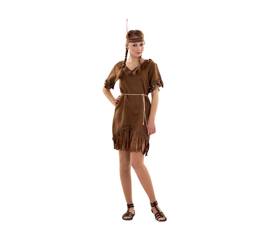 Disfraz de India barato para Carnavales. Talla S 34/38 para chicas delgadas y para adolescentes. Incluye cinta de la cabeza, vestido y cinturón.