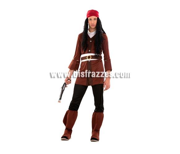 Disfraz barato de Pirata Caribeño para Carnavales. Talla S = 48/52 ideal para adolescentes y para hombres delgados. Incluye chaqueta, cinturón, fajín, pañuelo y cubrebotas. Arcabuz y peluca NO incluidos, podrás verlo en la sección de Complementos y en la de Pelucas.