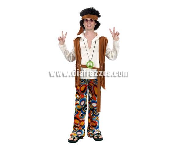 Disfraz barato de Hippie para hombre. Talla S = 48/52 para chicos delgados y adolescentes. Inlcuye turbante, camisa con chaleco, pantalón y cinturón. Collar y gafas NO incluidos, podrás verlo en Complementos.