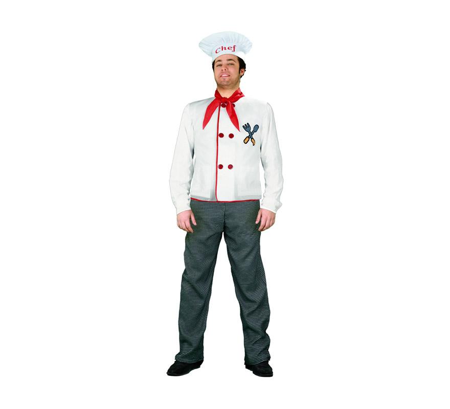 Disfraz de Cocinero para hombre talla S = 48/52 para chicos delgados y para adolescentes. Incluye gorro, pañuelo, camisa y pantalón.