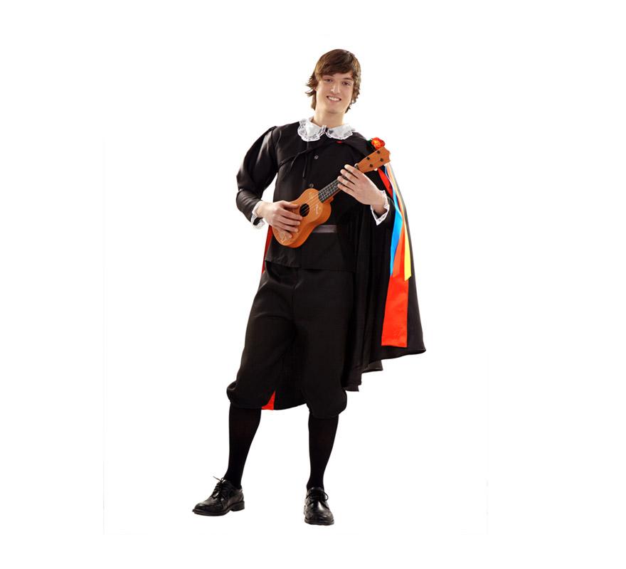 Disfraz barato de Tuno para Carnaval. Talla S 48/52 para chicos delgados y para adolescentes. Incluye pantalón, chaqueta, capa y cinturón.