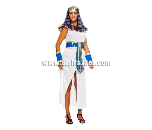 Disfraz barato de Faraona talla XL para mujer. Talla XL = 44/48. Incluye tocado, cuello, túnica cinturón y muñequeras. Éste disfraz de Cleopatra es de talla más grande para las chicas que no están tan delgadas.