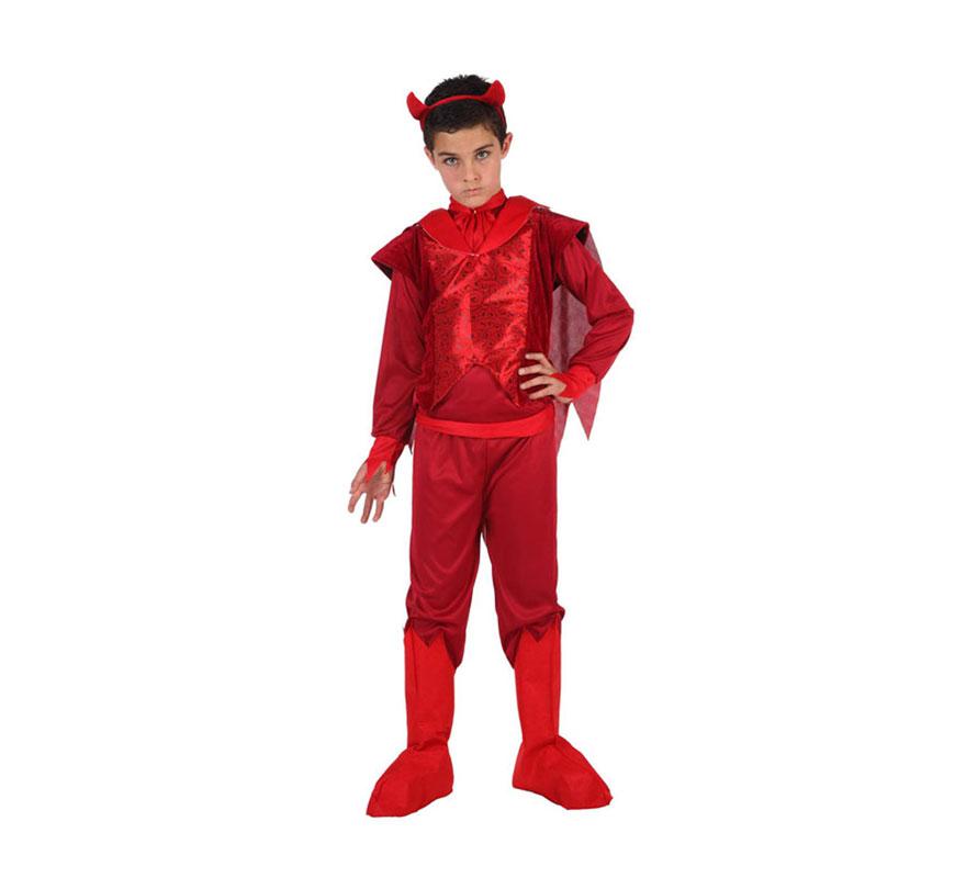 Disfraz de Demonio Fuego para niño. Talla 2 = de 7 a 9 años. Incluye camisa con capa, pantalon, diadema y cubrebotas.