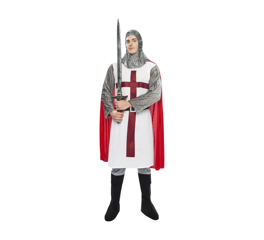 Disfraz de Caballero Templario Medieval para adulto. Talla XL = 54/58. Incluye verdugo, casaca, cinturón y pantalones-botas de tela. Espada NO incluida, podrás verla en la sección de Complementos. Traje de Guerrero Medieval de excelente relación calidad-precio.