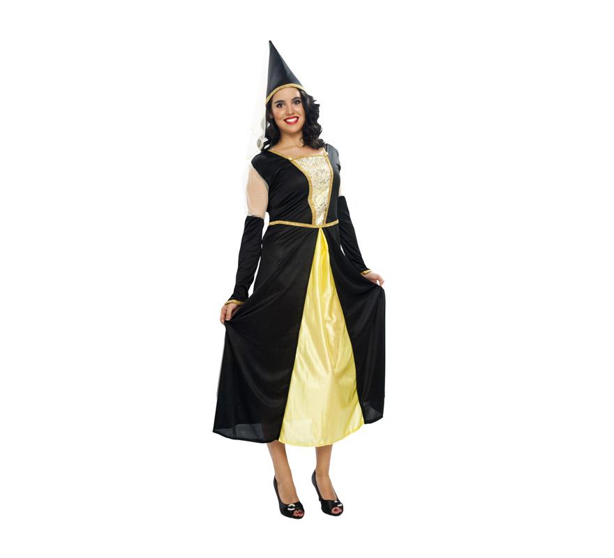 Disfraz barato de Reina Medieval para mujer. Talla XL = 44/48. Incluye vestido y gorro. Un traje perfecto para Ferias y Fiestas Medievales.