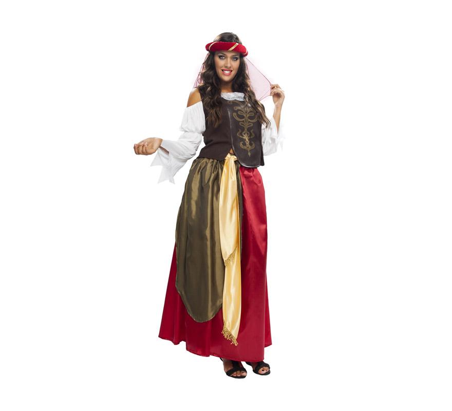 Disfraz de Mujer del Renacimiento adulta económico. Talla XL = 44/48. Incluye tocado de la cabeza, blusa, falda y cinturón. Flor NO incluida.