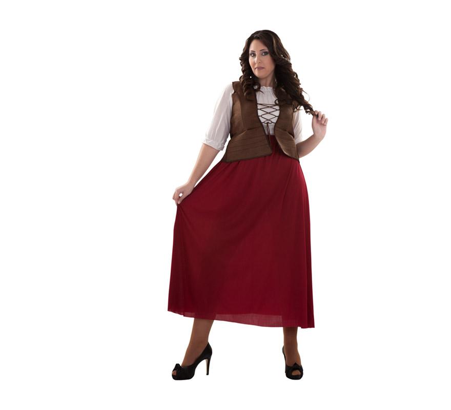 Disfraz de Tabernera Medieval barato para mujer. Talla XL = 44/48. Incluye vestido y chaleco. Disfraz de Posadera o Mesonera Medieval de la talla XL para las mujeres que no estén tan delgadas.