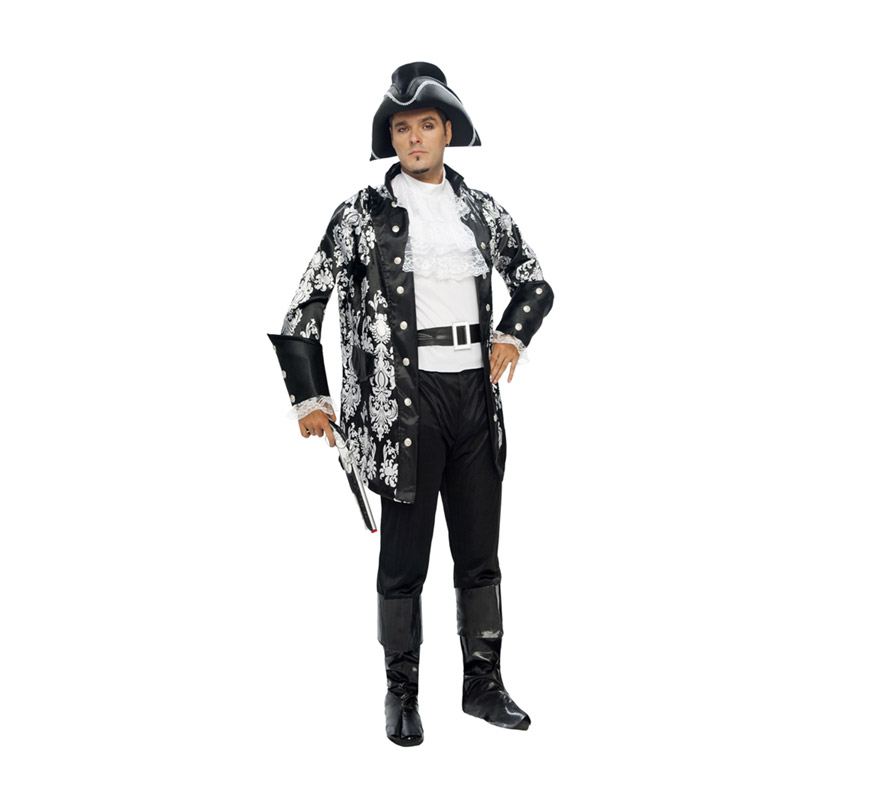 Disfraz de Lord Pirata Adulto. Talla XL = 54/58. Incluye sombrero, pecherín, chaqueta, cinturón y pantalones-botas de tela. Pistola NO incluida, podrás verla en la sección de Complementos.