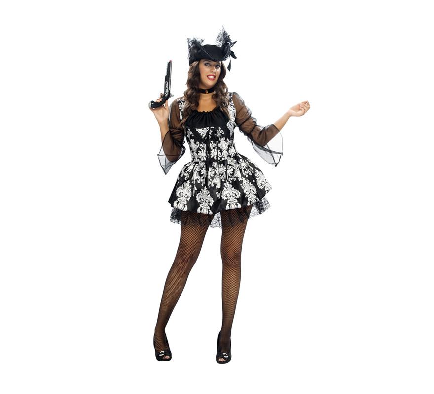 Disfraz de Lady Pirata Adulta. Talla XL = 44/48. Incluye sombrero, gargantilla y vestido. Un disfraz barato, muy divertido, sexy y bonito, ¿qué más necesitas para disfrazarte?