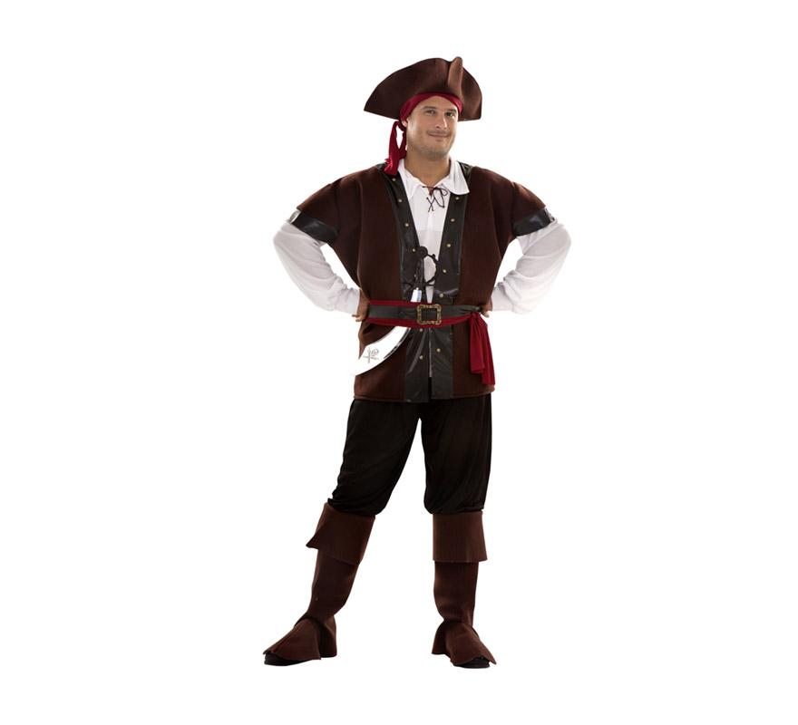 Disfraz de Bucanero para hombre. Talla XL = 54/58. Incluye sombrero con pañuelo, camisa, chaleco, cinturones, pantalón y cubrebotas. Parche y pistolas NO incluidos, podrás verlos en la sección Comlementos.