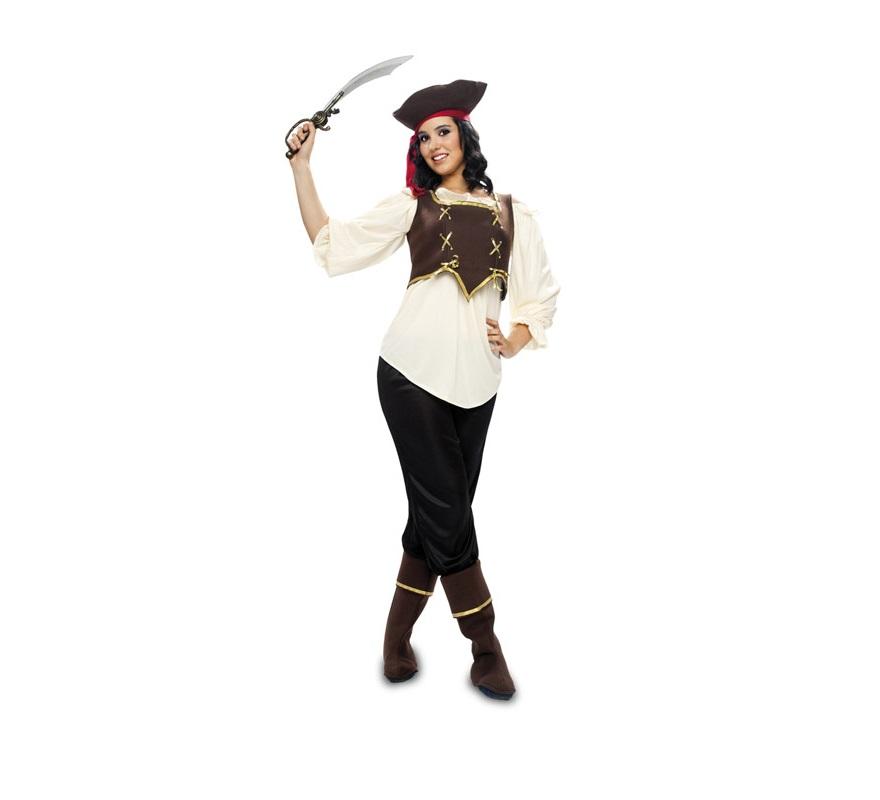 Disfraz barato de Pirata XL para mujer adulta. Talla XL = 44/48. Incluye sombrero, blusa corpiño, pantalón y cubrebotas.
