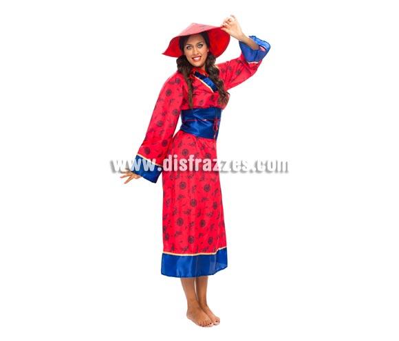 Disfraz barato de China para mujer. Talla XL = 44/48. Incluye sombrero, vestido y cinturón. Éste disfraz es perfecto para las chicas que nos están tan delgadas.