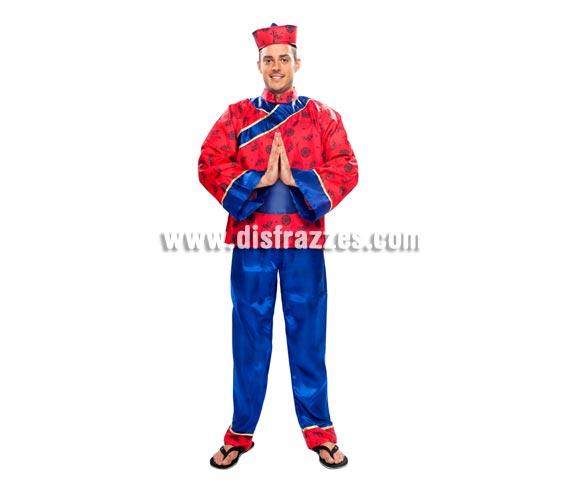 Disfraz de Chino para hombre. Talla XL = 54/58. Incluye sombrero, camisa, cinturón y pantalones.