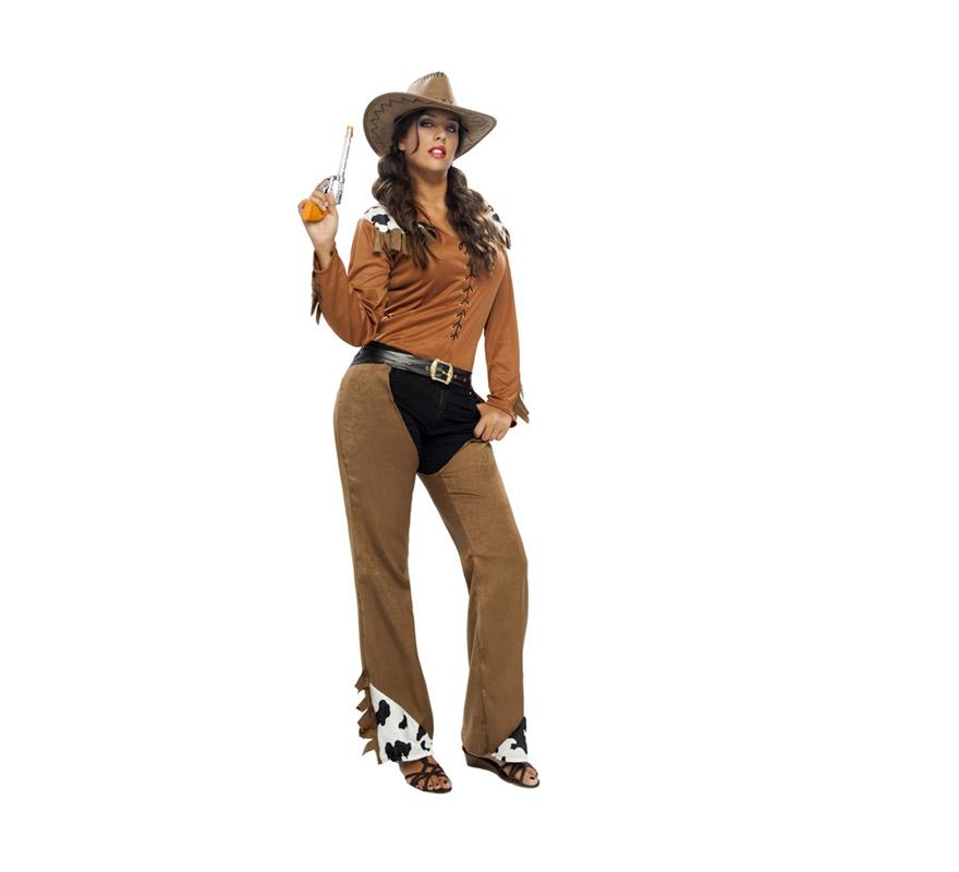 Disfraz barato de Vaquera adulta. Talla XL = 44/48. Incluye camisa, cinturón y zahones. Sombrero y pistola NO incluidos, podrás verlos en la sección de Complementos.
