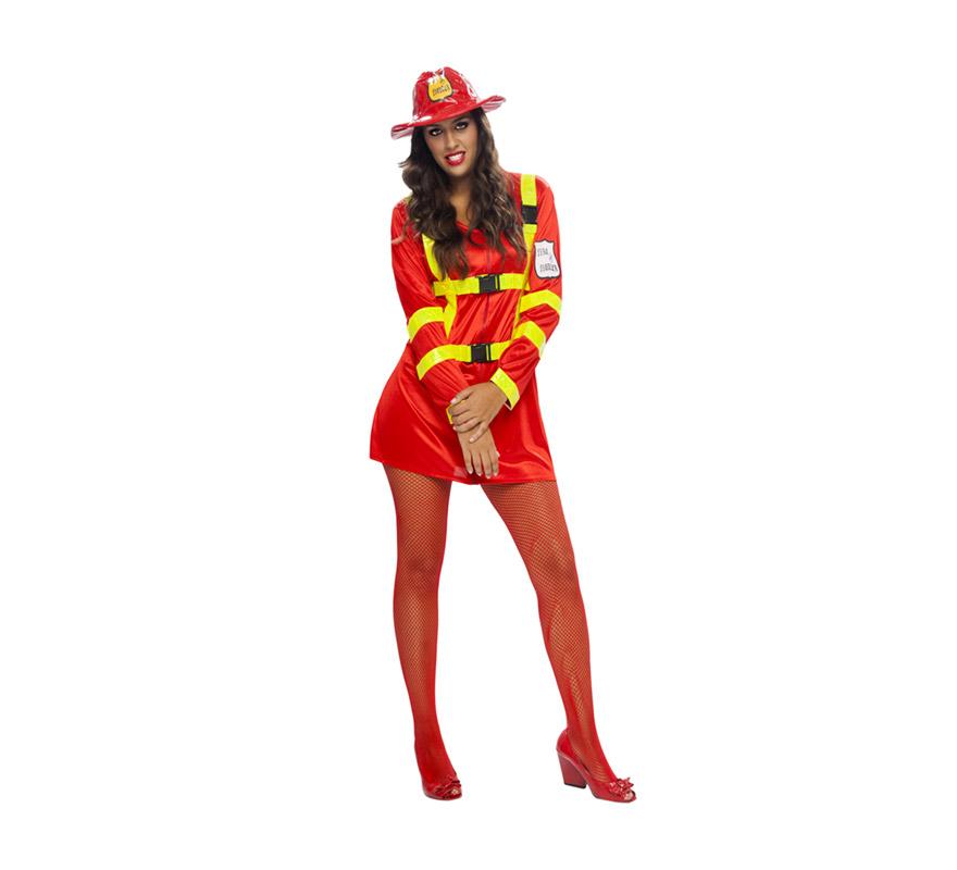 Disfraz de Bombera Sexy para mujer. Talla XL = 44/48 de mujer. Incluye sombrero y vestido. El extintor NO lo incluye, podrás ver uno hinchable en la sección de Complementos con la ref. 05296BT. Un disfraz ideal para Despedidas de Soltera para las chicas que no están tan delgadas.