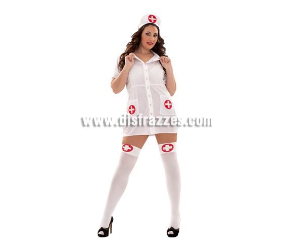 Disfraz de Enfermera traviesa Sexy adulta. Talla XL = 44/48 de mujer. Incluye tocado y vestido. Medias y jeringilla NO incluidas, podrás verlas en la sección de Complementos.