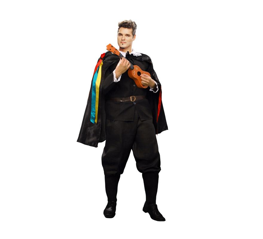 Disfraz barato de Tuno talla XL para hombre. Talla XL 54/58. Incluye pantalón, chaqueta, capa y cinturón. Éste traje siempre triunfa con las chicas, o en Carnaval o en Despedidas de Soltero o en cualquier Fiesta de disfraces, está comprobado. Éste disfraz también está en talla 52/54 con la ref. 19754BT.