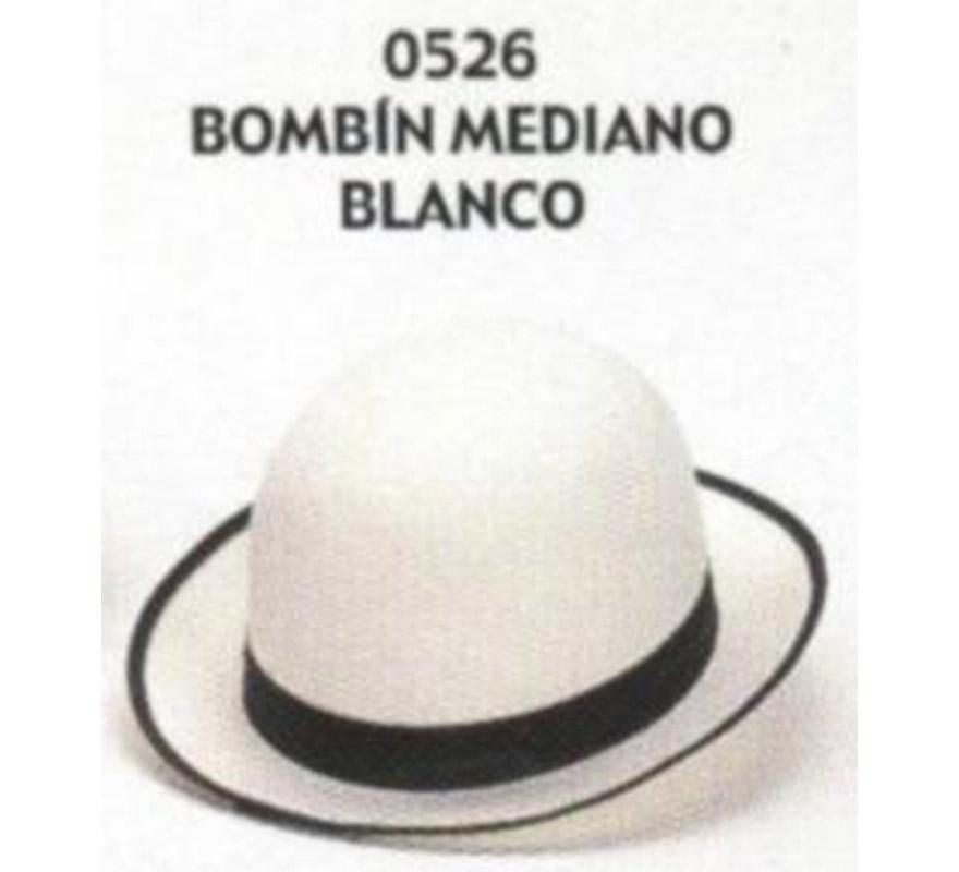 Sombrero Bombín mediano blanco. Buena calidad, fabricado artesanalmente en España. Posibilidad de ajuste de precio para grupos.