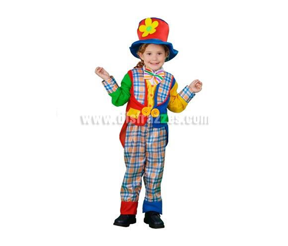 Disfraz de Payaso abrigo infantil barato para Carnaval. Talla de 3 a 4 años. Incluye sombrero, chaqueta, pechera con lazo y pantalón. Peluca, zapatones y guantes NO incluidos, podrás verlos en las secciones de Complementos y de Pelucas.