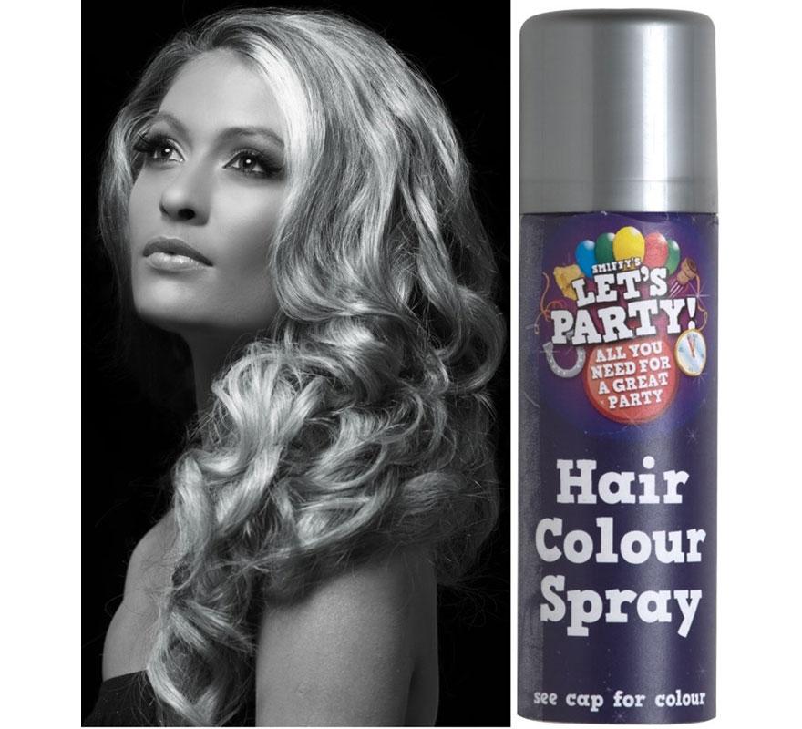 Spray de Pintura para Cabello color Plata 125 ml. Aerosol especial para tintar el pelo de fácil eliminación con agua y champú.