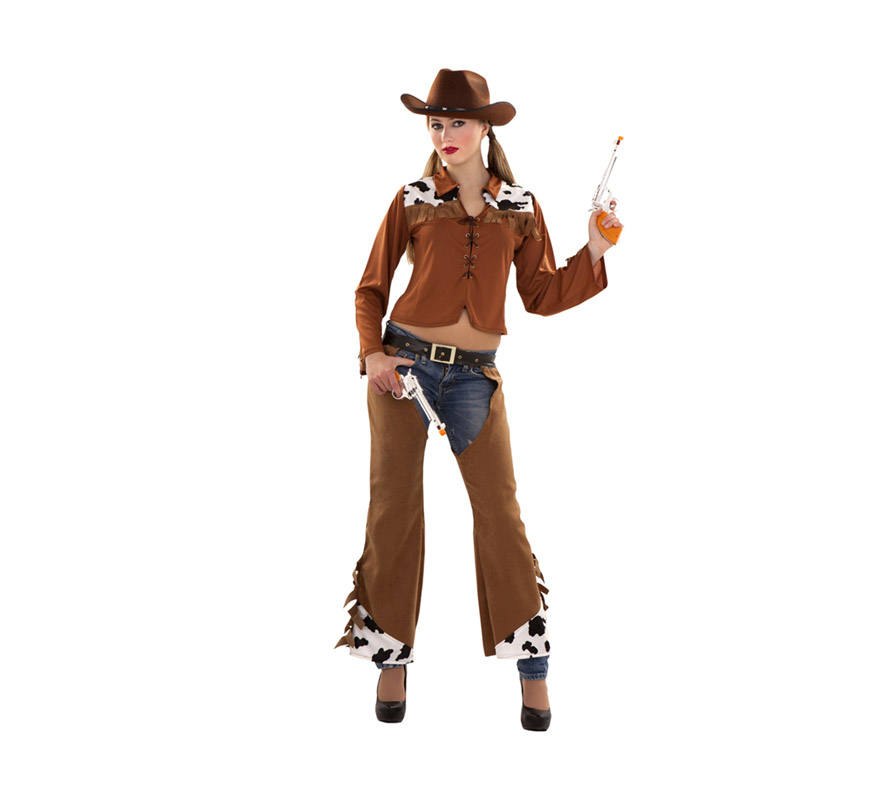 Disfraz de Vaquera para chicas delgadas de talla S 34/38 y para adolescentes. Incluye camisa, cinturón y zahones.