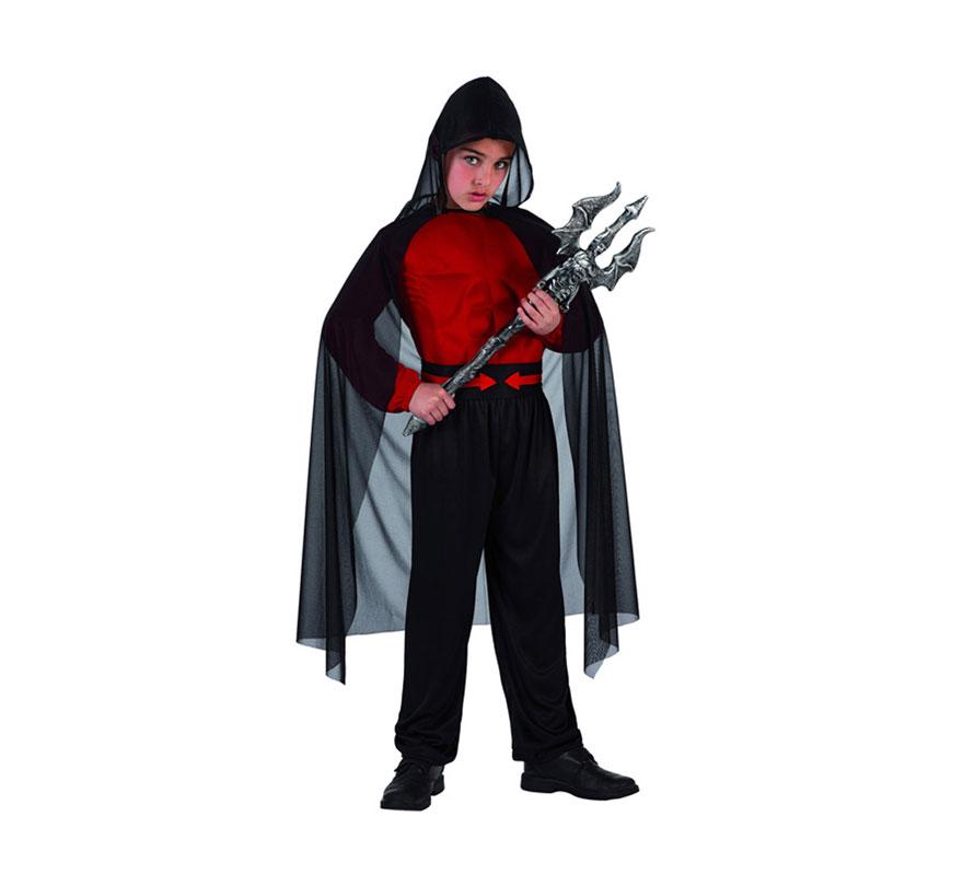 Disfraz de Guardian del Infierno para niño. Talla de 7 a 9 años. Incluye camisa, pantalón, cinturón y capa. Tridente NO incluido, podrás verlo en la sección de Complementos.