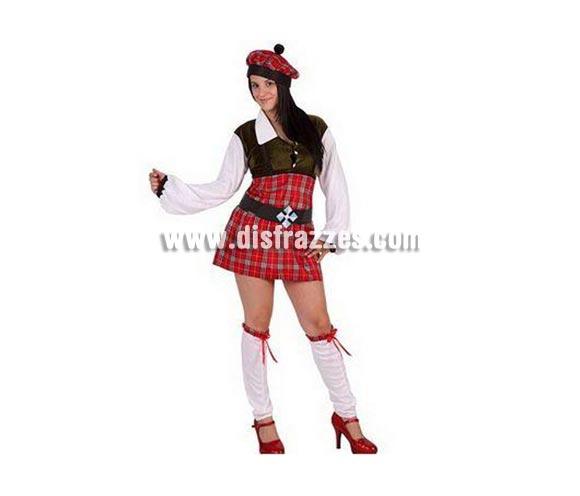 Disfraz de Escocesa sexy para mujer. Talla 2 ó talla Standar M-L 38/42. Incluye traje completo.
