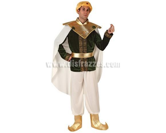 Disfraz de Príncipe Árabe con capa para hombre. Talla 2 ó talla standar M-L 52/54. Incluye disfraz completo. Éste disfraz también valdría como Paje Real de los Reyes Magos para Navidad.
