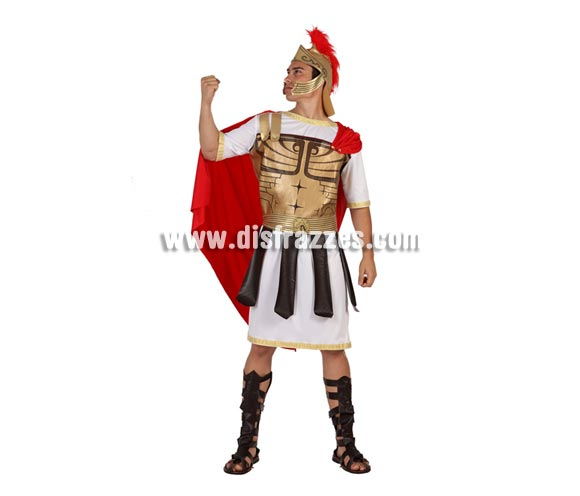 Disfraz de Centurión Romano talla M-L de hombre. Talla M-L = 52/54 de chaqueta. Incluye casco, traje y cubrebotas.