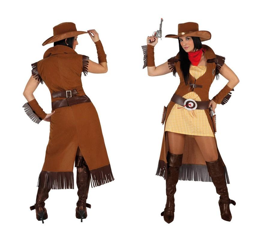 Disfraz de Pistolera o Vaquera para mujer. Talla 1 ó talla S 34/38 para chicas delgadas y adolescentes. Incluye vestido, chaqueta, cinturón, pañuelo, sombrero y manguitos.Pistolas NO incluidas, podrás encontrar en nuestra sección de Complementos.