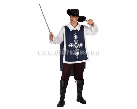 Disfraz de Mosquetero Azul para chicos. Talla 1 ó talla S 48/52. Incluye pantalón, camisa, casaca y sombrero. Cubrebotas y espada NO incluidos, podrás encontrar en nuestra sección de Complementos.