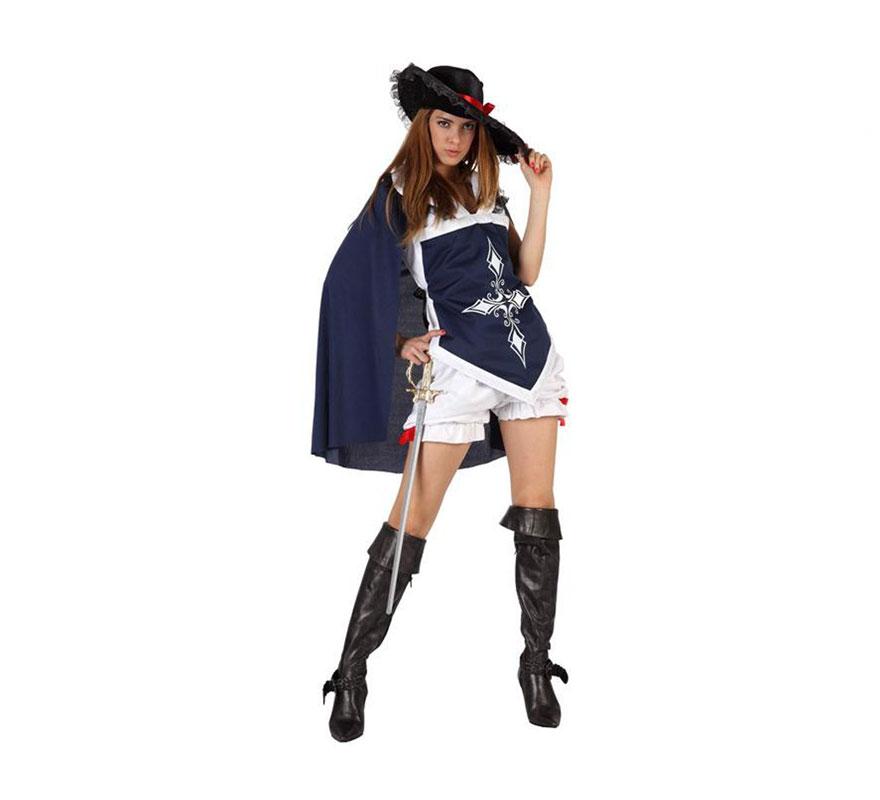 Disfraz de Mosquetera sexy azul para chicas. Talla 1 ó talla S 34/38 para chicas delgadas y adolescentes. Incluye pololo, camisa con capa y sombrero. Espada y cubrebotas NO incluidos, podrás encontrar en nuestra sección de Complementos.