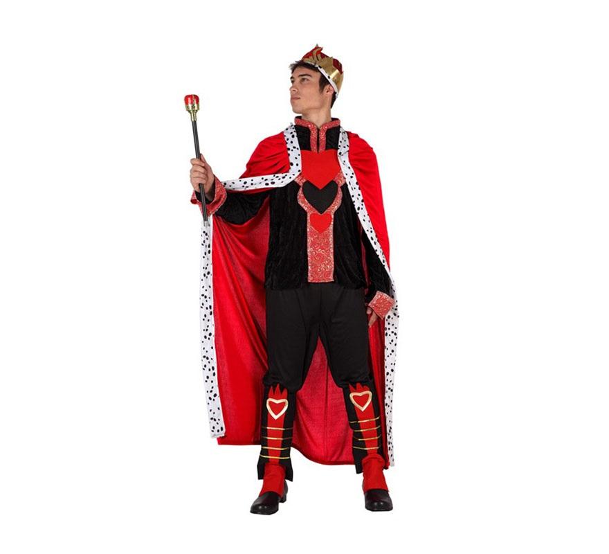 Disfraz de Rey de Corazones para hombre. Talla 2 ó talla Standar M-L 52/54. Incluye disfraz completo. Cetro de Rey No incluido, podrás encontrar en nuestra sección de Complementos.