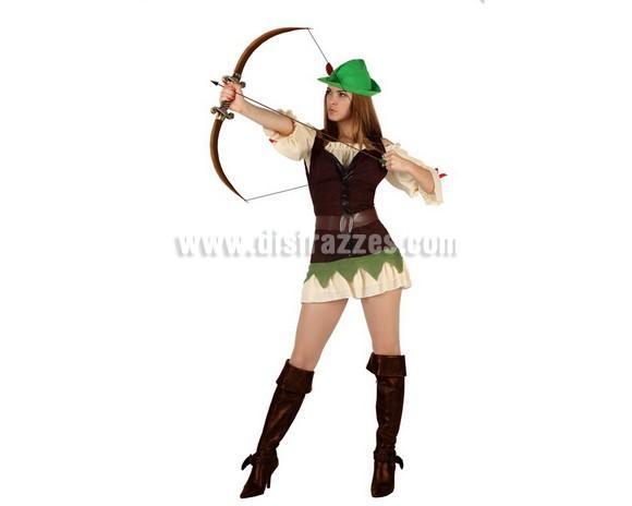 Disfraz de Chica de los Bosques sexy para mujer. Talla 3 ó talla XL 44/48. Incluye disfraz completo. Arco y cubrebotas NO incluidos, podrás encontrar en nuestra sección de Complementos. Disfraz de Robin Hood sexy para mujer.