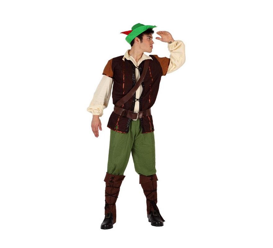 Disfraz de Chico de los Bosques para hombre. Talla S = 48/52 para chicos delgados y adolescentes. Incluye disfraz completo. Disfraz de Robin Hood para chicos.