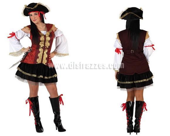 Disfraz de Pirata sexy para chicas. Talla 1 ó talla S 34/38 para chicas delgadas y adolescentes. Incluye traje completo. Cubrebotas NO incluidos, podrás encontrar en nuestra sección de Complementos.