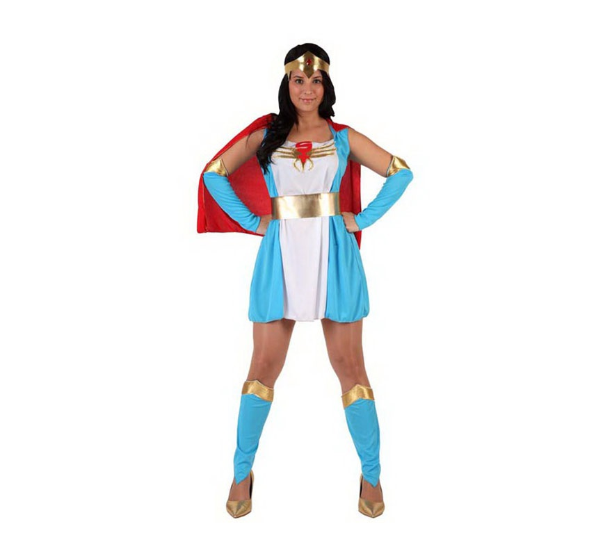 Disfraz de Super Heroína azul sexy para mujer. Talla 2 ó talla standar M-L 38/42. Incluye disfraz completo.