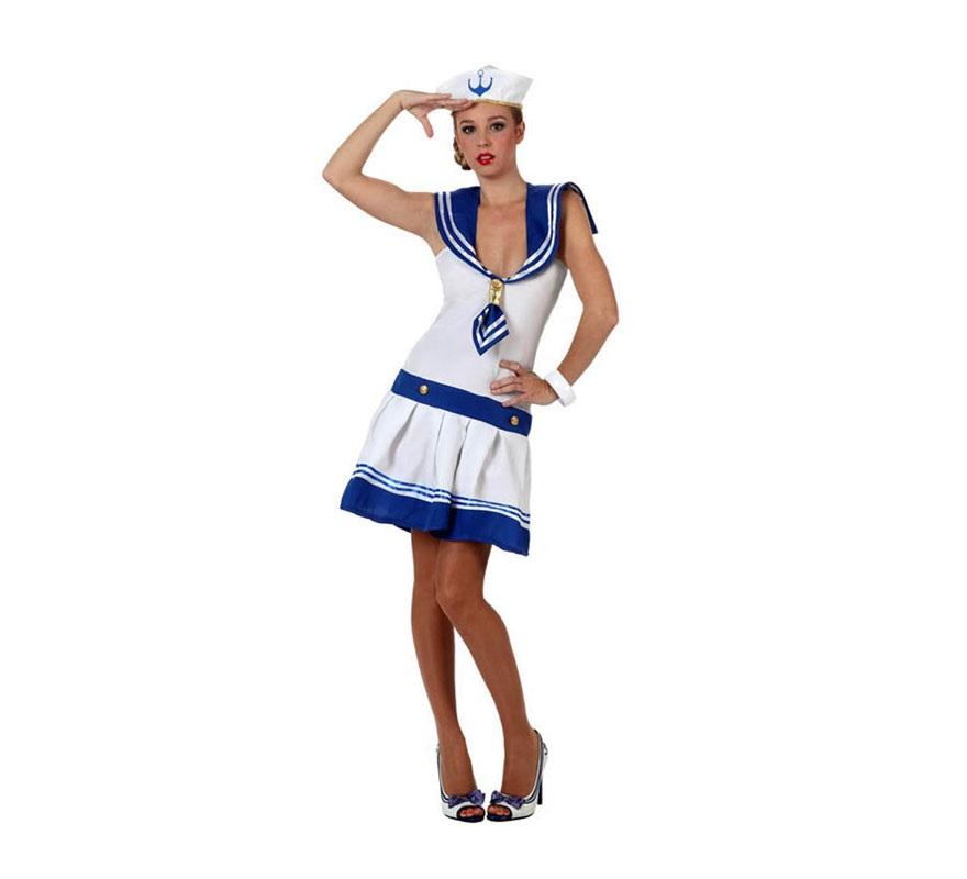 Disfraz de Marinera sexy blanco para mujer. Talla 2 ó talla standar M-L 38/42. Incluye vestido y gorro.