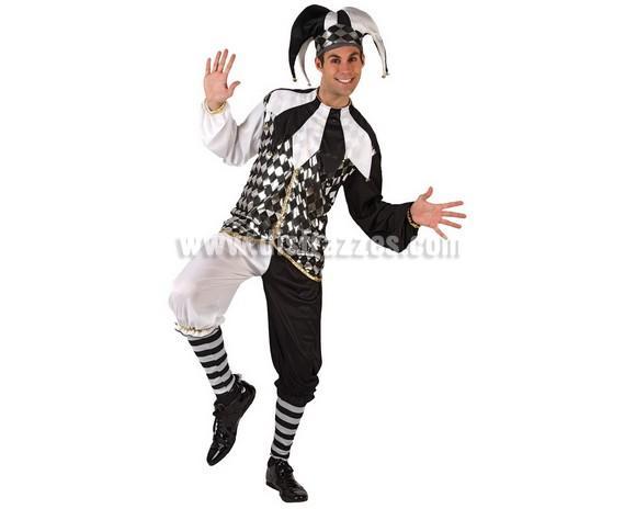 Disfraz de Arlequín o Bufón para hombre. Talla 2 ó talla standard M-L 52/54. Incluye disfraz completo sin zapatos.