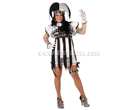 Disfraz de Arlequín para mujer. Talla 2 ó talla standard M-L = 38/42. Incluye gorro, camisa, cuello, pantalón y liga. Guantes NO incluidos.