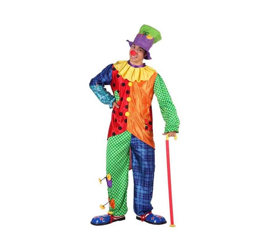 Disfraz de Payaso para hombre. Talla 2 ó talla standar M-L 52/54. Incluye pantalón, camisa y gorro. Nariz, bastón y zapatones NO incluidos, podrás encontrar en nuestra sección de Complementos.
