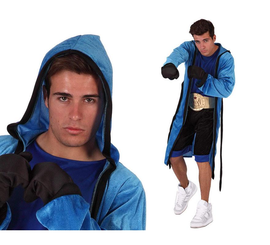 Disfraz de Boxeador para hombre. Talla 2 ó talla standar M-L 52/54. Incluye camisa, pantalón, cinturón, bata y guantes.