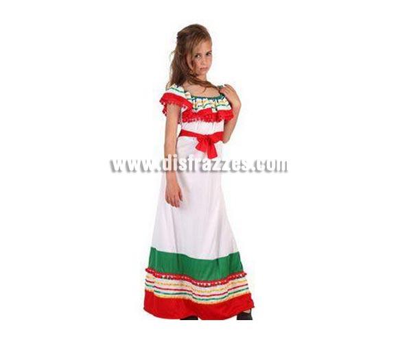 Disfraz de Mejicana para niñas de 3 a 4 años. Incluye vestido.