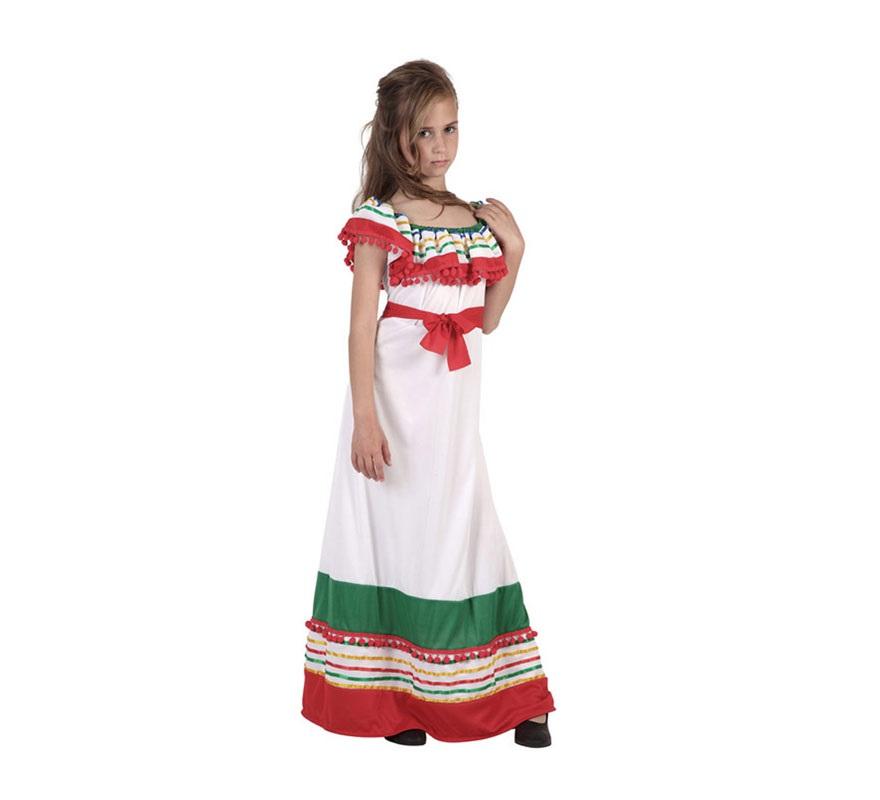 Disfraz de Mejicana para niñas de 10 a 12 años. Incluye traje.