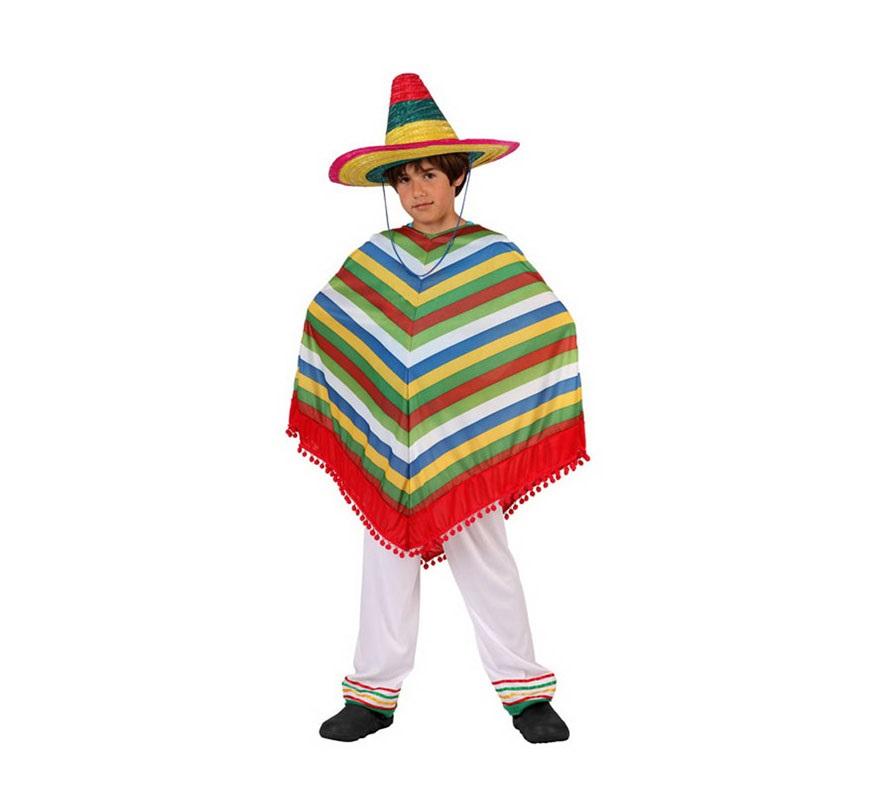Disfraz de Mejicano para niños de 5 a 6 años. Incluye poncho y pantalón. Sombrero NO incluido, podrás verlo en la sección de Complementos.
