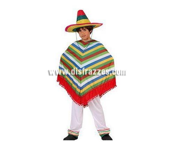 Disfraz de Mejicano para niños de 10 a 12 años. Incluye poncho y pantalón. Sombrero NO incluido, podrás verlo en la sección de Complementos.