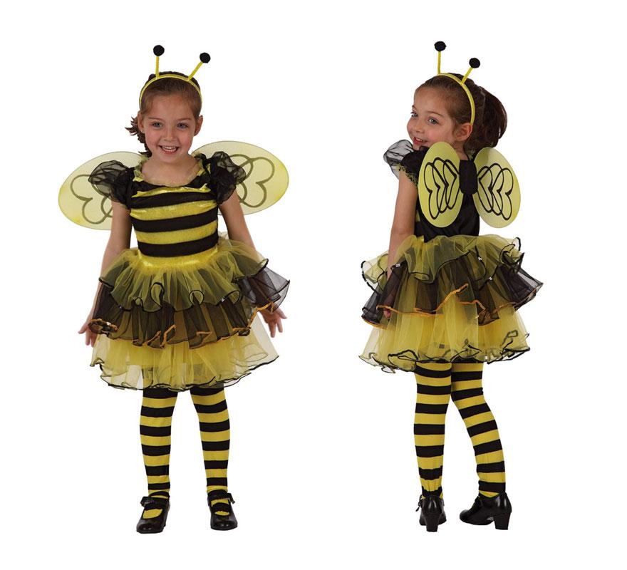 Disfraz de Abeja o Abejita para niñas de 3 a 4 años. Incluye vestido con volantes, alas y diadema.
