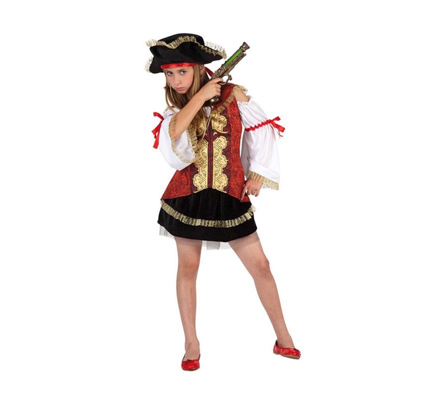 Disfraz de Pirata de Lujo para niñas de 10 a 12 años. Incluye falda, camisa con corse y sombrero. Trabuco NO incluido, podrás verlo en la sección de Complementos.