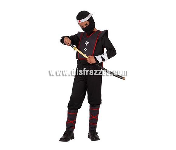 Disfraz de Ninja para niños de 5 a 6 años. Incluye traje completo. Espada NO incluida, podrás verla en la sección de Complementos.